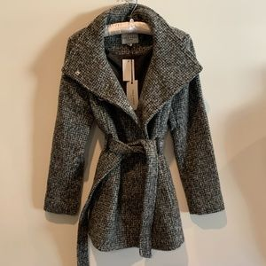 Cole Haan Wool Tweed Wrap Coat NWT 12